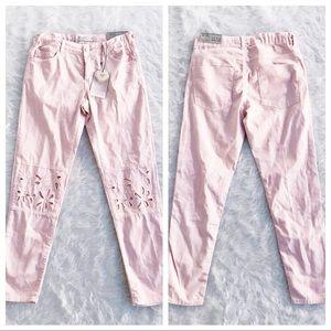 NWT ZARA GIRLS Light Pink Eyelet Denim Slim Jeans